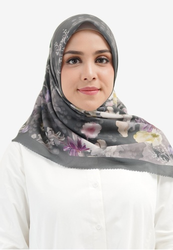 Buttonscarves grey Buttonscarves Fiore Extended Voile Square Dark Grey 94716AA6434930GS_1