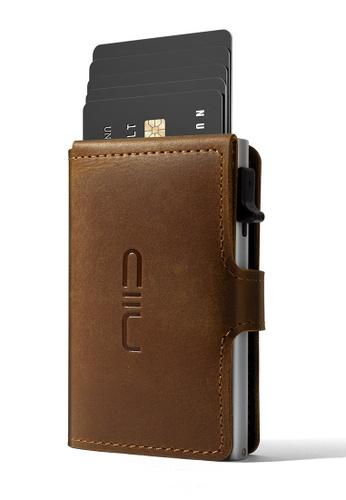 NIID brown NIID RFID Security Slide Mini Leather Wallet Light Brown AFFB9AC43A96B6GS_1