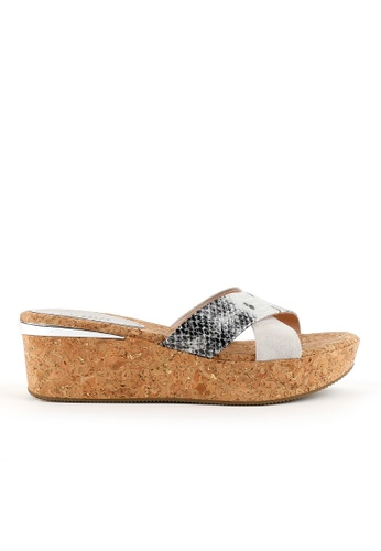 Joy & Peace silver Printed Cross-Strap Cork Wedges JO458SH87JLWHK_1