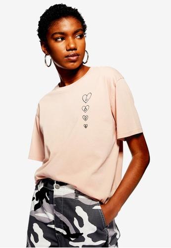 TOPSHOP 粉紅色 Vertical Love Heart T-Shirt 97515AA1B2FB77GS_1