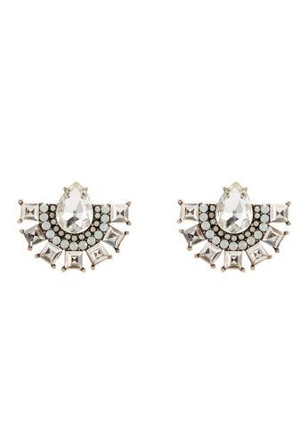 Red's Revenge white Art Deco Gemstone Stud Earrings 63CFCAC508E998GS_1