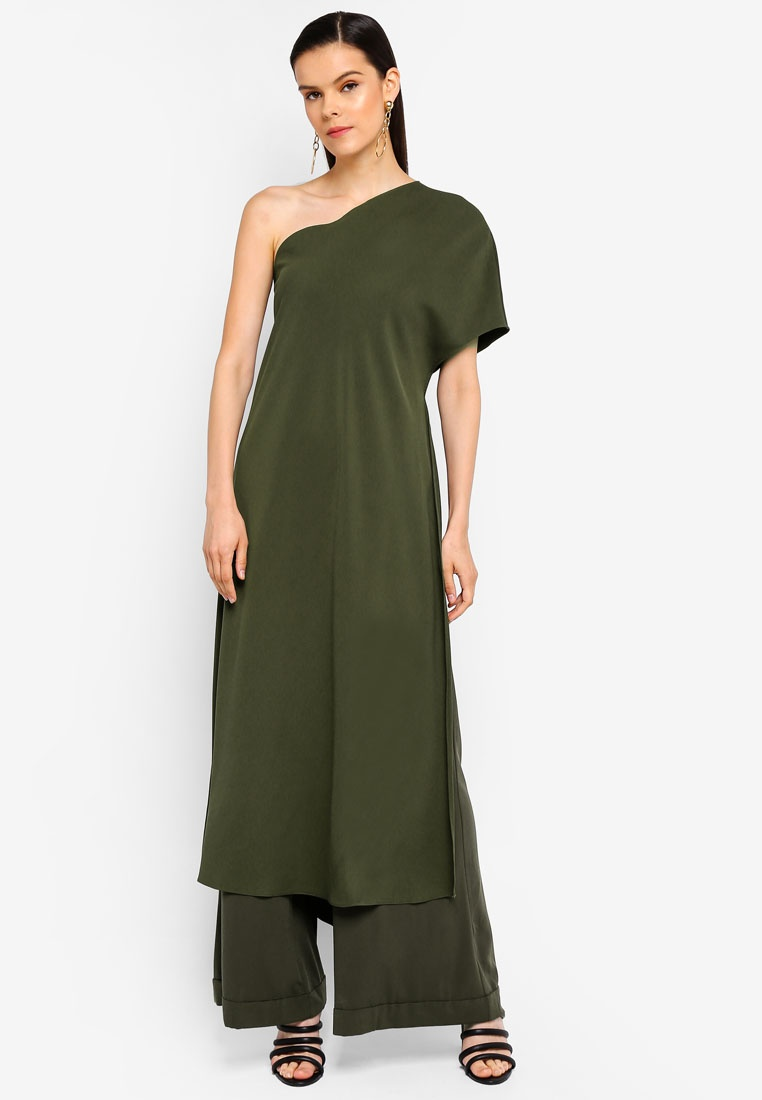 One Shoulder Draped AfiqM Green Top Olive BzxdfxqwZ