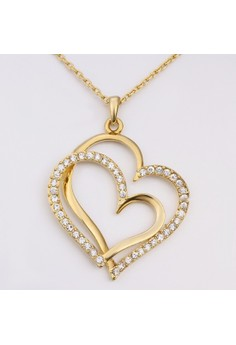 Treasure by B&D N584 Lover's Hearts Pendant Plated Zircon Inlay Necklace