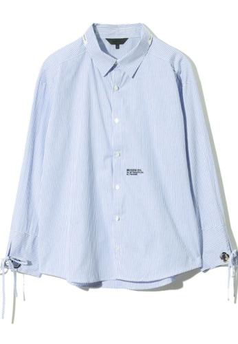 MUSIUM DIV blue Ribbon detail logo embroidered pinstriped shirt 7BD2EAAFB90933GS_1