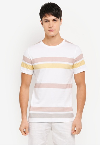 ZALORA pink and multi Printed Stripes Tee 8F9E4AAB058EE6GS_1