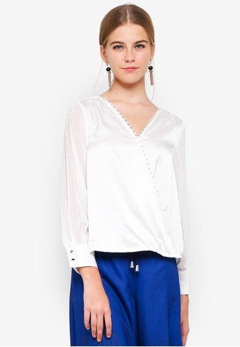 bYSI white Dotted Mesh Sleeve Wrap Top 1A360AA30F2F56GS_1