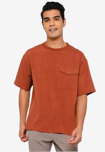 RAGEBLUE brown Casual Textured T-Shirt F33D4AA0222D98GS_1