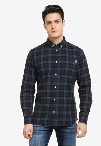 Jack & Jones green and navy Jorsilver Shirt B363FAA4E354EDGS_1