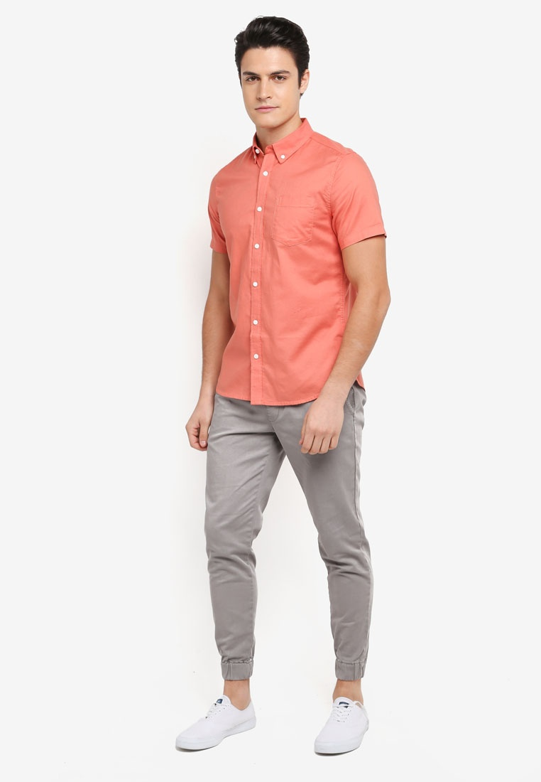 Sleeve Orange Short Menswear Shirt London Burton Oxford q1daSd0