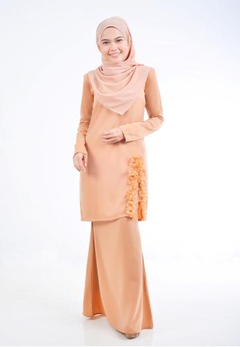 Assie Modesty brown and beige Dollies Kurung E43DFAAF00B7C0GS_1