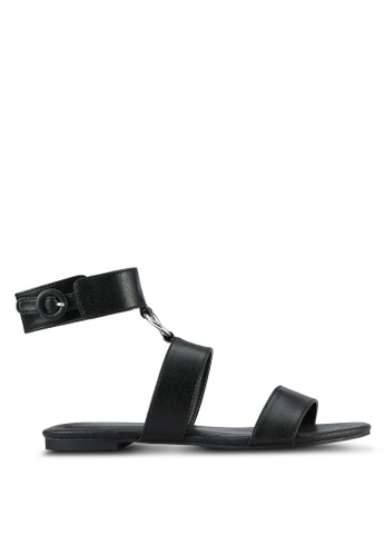 Something Borrowed black Ankle Cuff Ring Sandals BEFA0SHC0E0C31GS_1