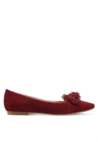 ZALORA red Fabric Bow Flats 8446ASH810AF47GS_1