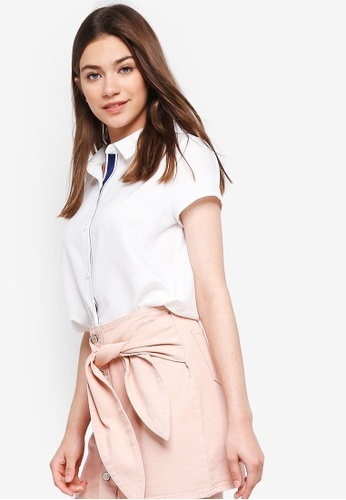 Something Borrowed white Striped Trim Boxy Cropped Shirt 779B5AA3786862GS_1