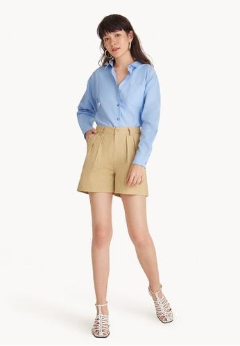 Pomelo beige Front Pleated Shorts - Beige E861FAA0C0BEADGS_1