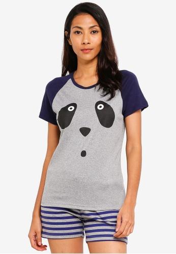 UniqTee grey Beary Sleepy Pajamas Set 1B111AA8EA6000GS_1