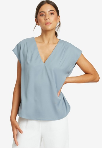 REUX blue Sara Boxy Top 70D1CAAFAB449AGS_1