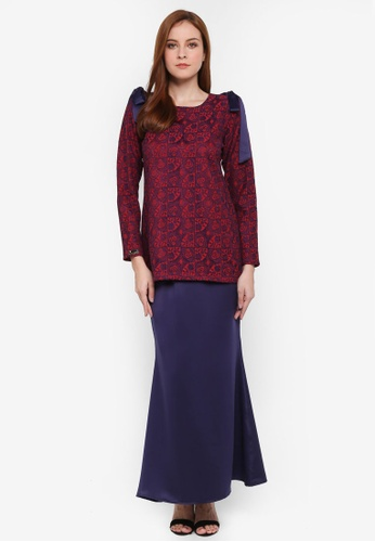 Haneesa Lacey Kurung from JubahSouq in Red and Navy