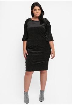 55 Off Diva Plus Size Glitter Velvet Midi Dress With Bell Sleeves Rm 285 00 Now 128 90 Sizes 16 18 20 22