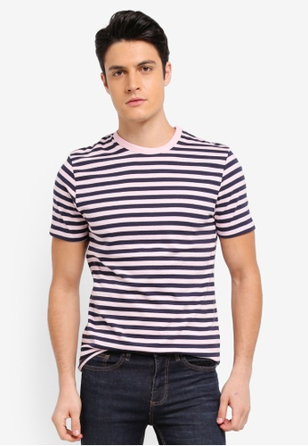 Topman pink Pink Slim Fit Striped T-Shirt F491FAADE383A3GS_1