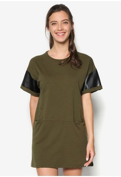 Pu Piecing T-Shirt Dress