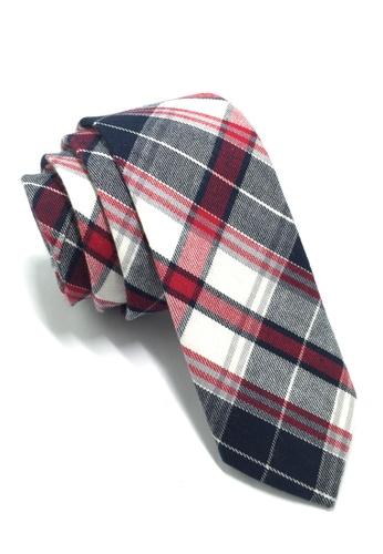 Splice Cufflinks Grids Series Red, White & Blue Skinny Cotton Tie SP744AC94QMBSG_1