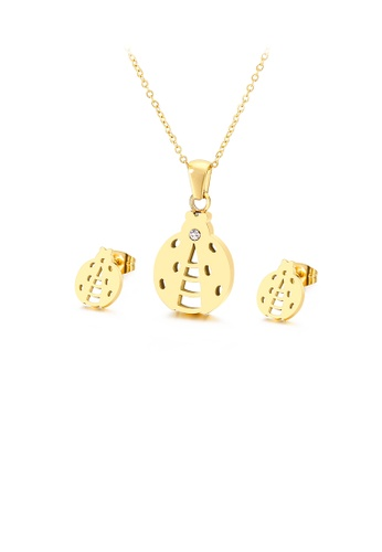 Glamorousky silver Fashion and Simple Plated Gold Ladybug 316L Stainless Steel Necklace and Stud Earrings Set CFB8DAC4C257B9GS_1