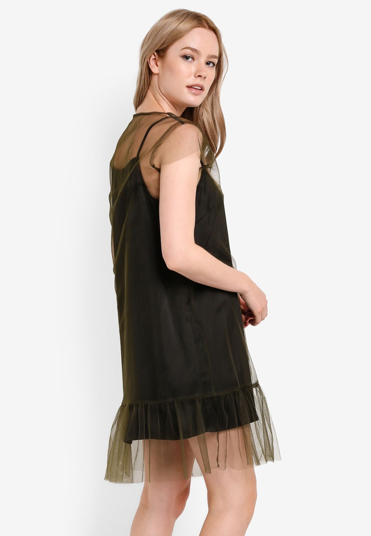 Mesh Green Satin In Army Something Dress Mesh 2 1 Hem Fluted Borrowed Black TIwnAqZ