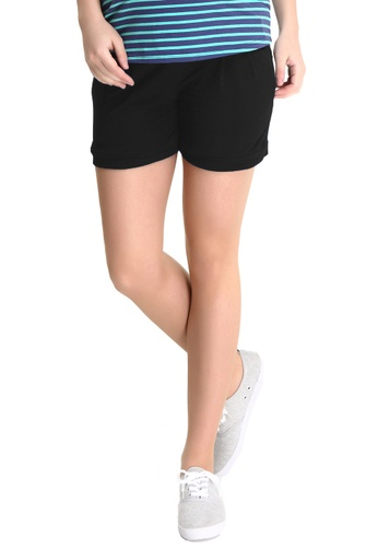 Bove by Spring Maternity black Knitted Cotton Spandex Shorts LB1603 SP010AA49ULQSG_1
