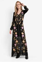 Miss Selfridge black and multi Premium Bella Embroidered Maxi Dress MI665AA02RTPMY_1