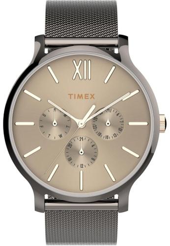 TIMEX black and grey Timex Transcend 38mm - Grey Case & Mesh Band (TW2T74700) AC5F9AC0BAAAA9GS_1