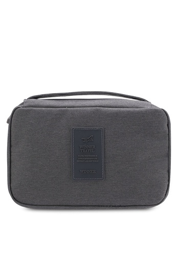Bagstationz grey Lightweight Water Resistant Travel Toiletries Pouch BA607AC29QNUMY_1