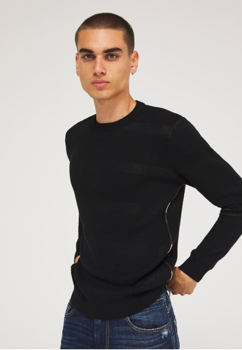 Sisley black Patches knitted sweater EEB01AAB83B7BBGS_1
