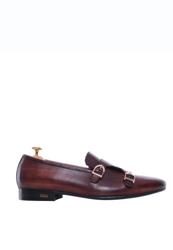 Zeve Shoes brown Zeve Shoes Loafer Slipper - Dark Brown Double Monk Strap (Hand Painted Patina) DC6A6SHEFDF1D4GS_1