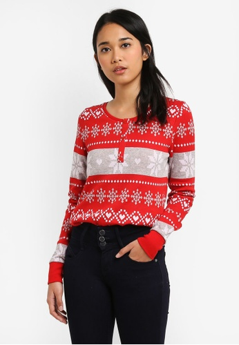 ONLY white and red Winther Long Sleeve Top 5FCB1AA1353819GS_1
