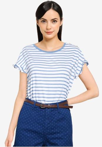 Springfield blue Flounced Sleeves Striped T-Shirt D55E7AA0D63159GS_1
