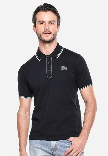 LGS - Slim Fit - Kaos Polo - Hitam - Garis Hijau Putih.