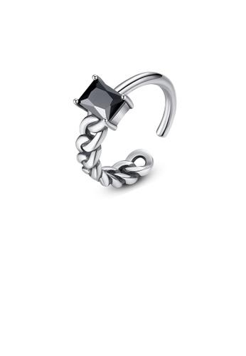 Glamorousky black 925 Sterling Silver Fashion Simple Geometric Rectangular Black Cubic Zircon Asymmetric Adjustable Open Ring 43283ACF9760A1GS_1