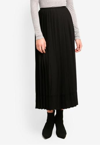 DKNY black Pleated Maxi Skirt With Zip 4A277AAAC13B2AGS_1
