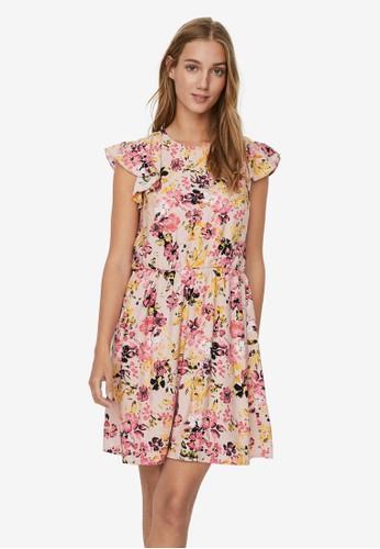 Vero Moda pink Printed Short Dress DDA4DAAF8538FDGS_1