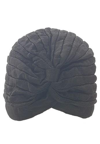 San Marco black Metallic Plain Turban Black 10E2BAA9288EEFGS_1