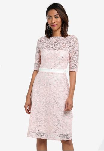 Vesper pink Ellery Metallic Lace Full Skirt Midi Dress AA8BFAA6BEC178GS_1