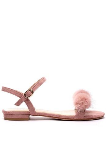 Twenty Eight Shoes Fur Ball Ankle Strap Flat Sandals 6848-30 60229SH11DB363GS_1
