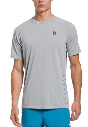 Nike grey Nike Swim Men's Swoosh Short Sleeve Hydroguard 6F626USF749F84GS_1