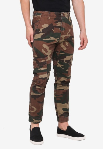 Topman green and multi Camo Cargo Skinny Trousers F1DFCAA1C46D68GS_1