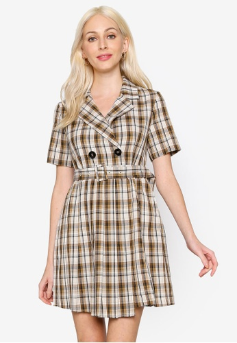 Hopeshow brown V-Neck Double Breasted Checkered Mini Dress 22520AA952544CGS_1