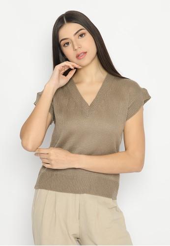 Mannequin brown Min Jee Knitting Vest E8145AA3710EC0GS_1