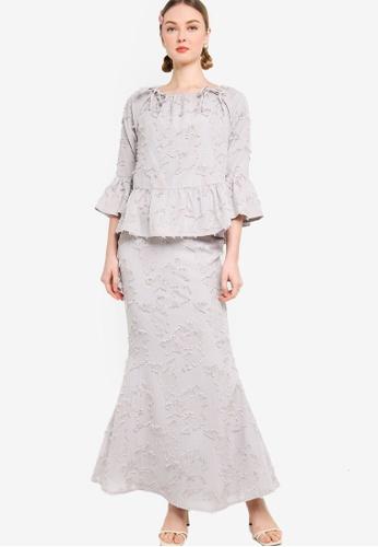 Lubna grey Flare Sleeve Frill Kurung DB08FAACF75A45GS_1