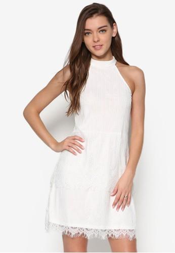 蕾絲裙擺削肩高領esprit 雨傘連身裙, 服飾, 洋裝