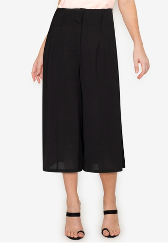 ZALORA WORK black Self Tie Wide Leg Culottes F26B8AAD09ABCCGS_1