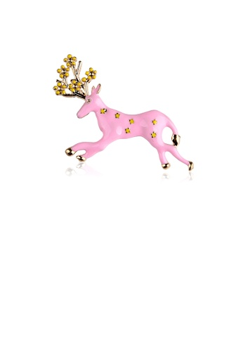 Glamorousky silver Simple and Fashion Plated Gold Enamel Pink Elk Brooch 1375DAC61C20F8GS_1